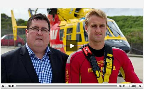 Tony MacRae and Westpac Rescue Helicopters crew member Harry Watson